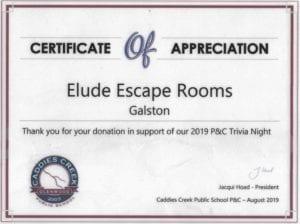 Caddies Creek Public School Certificate of Appreciation