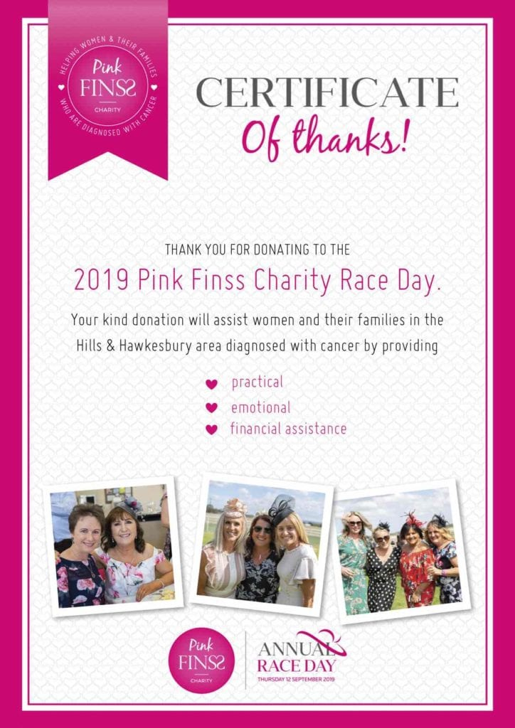 Pink Finss Certificate of Thanks