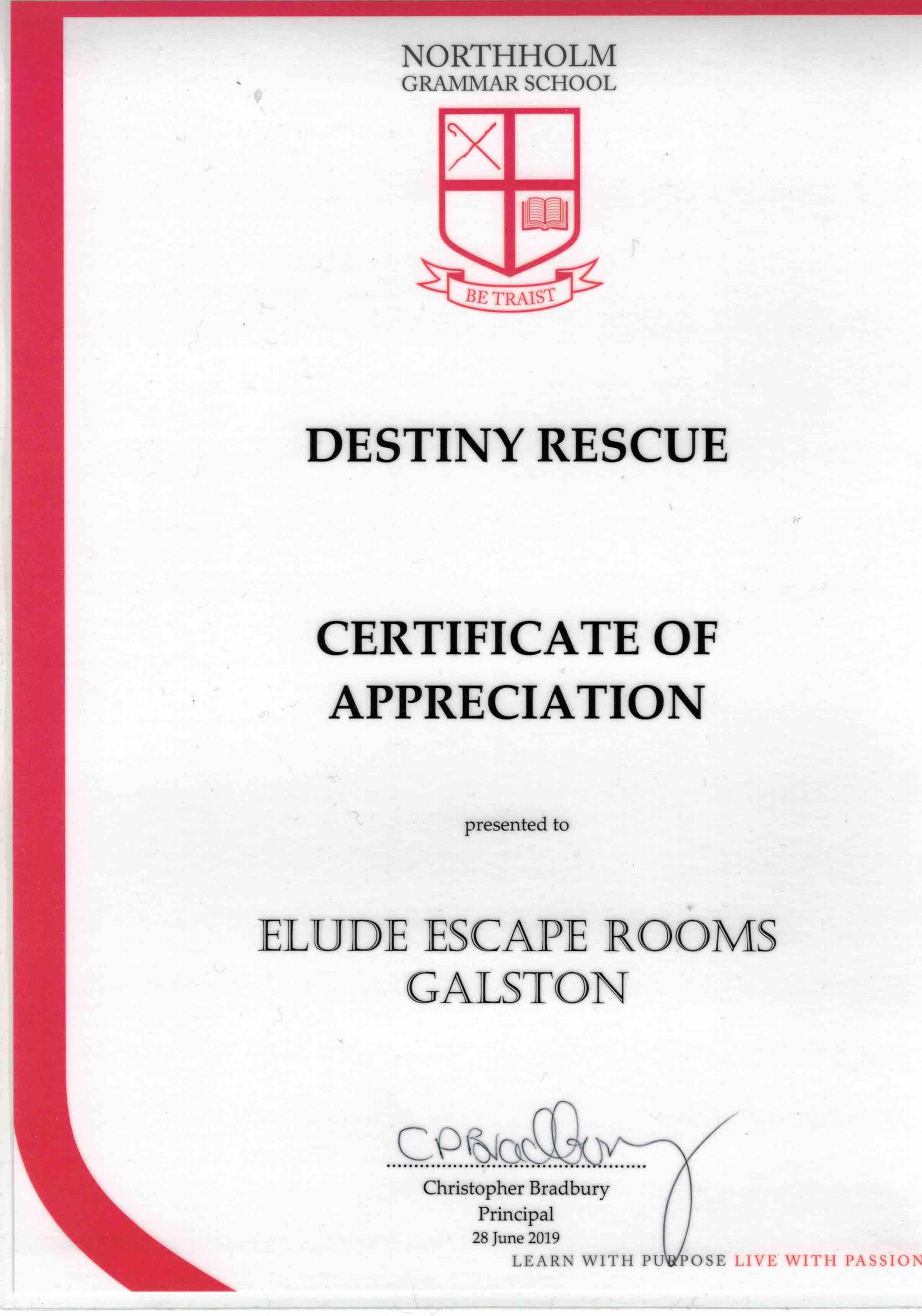 Certificate of Appreciation from Destiny Rescue