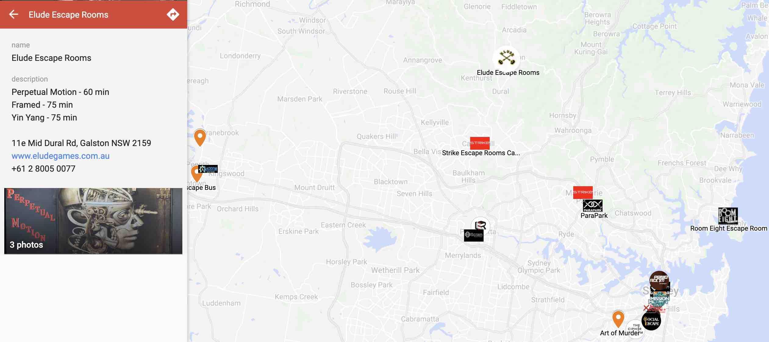 Escape Room Map NSW