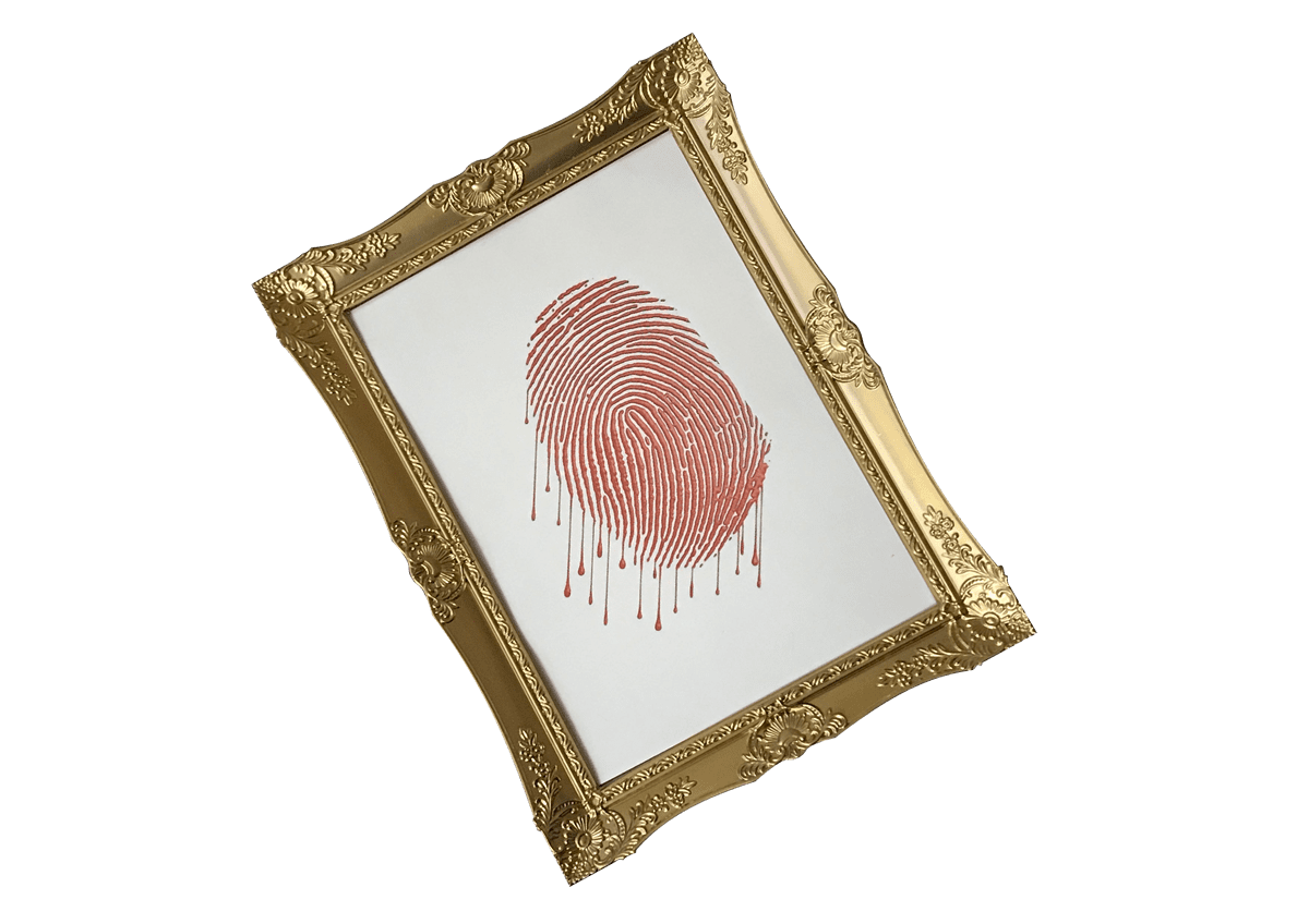 Logo for Framed by Elude Escape Rooms - gold frame with a dripping red thumbprint