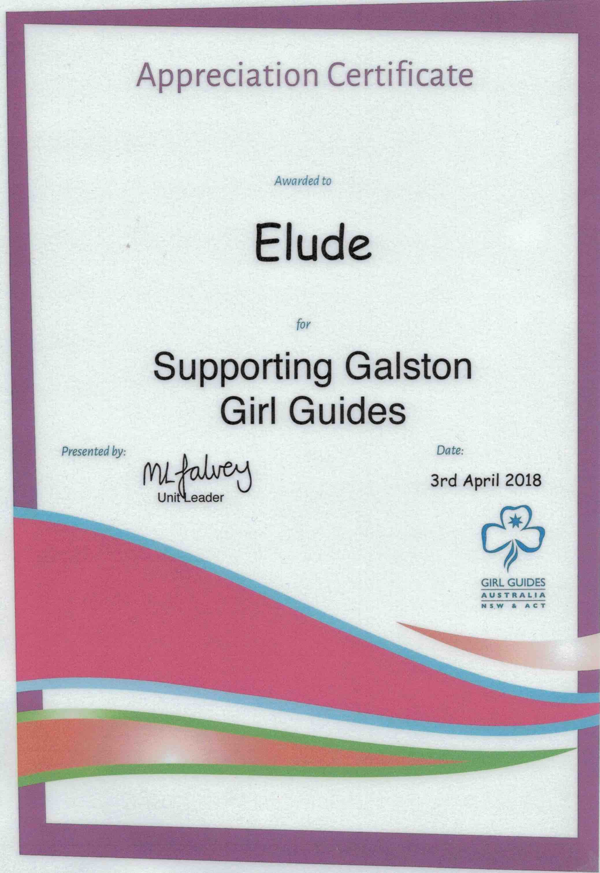 Appreciation Certificate from Galston Girl Guides