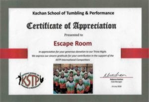 Certificate of Appreciation from Kachan School of Tumbling & Performance