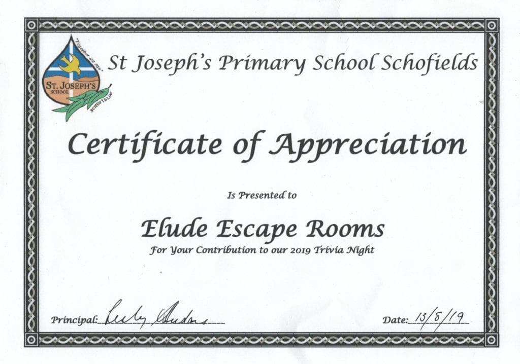 Certificate of Appreciation from St Joseph's Primary School