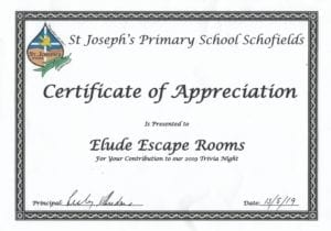 Certificate of Appreciation from St Joseph's Primary School