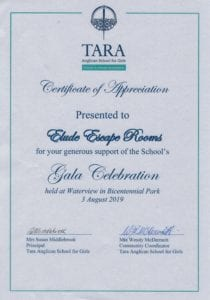 Certificate of Appreciation from Tara Anglican School