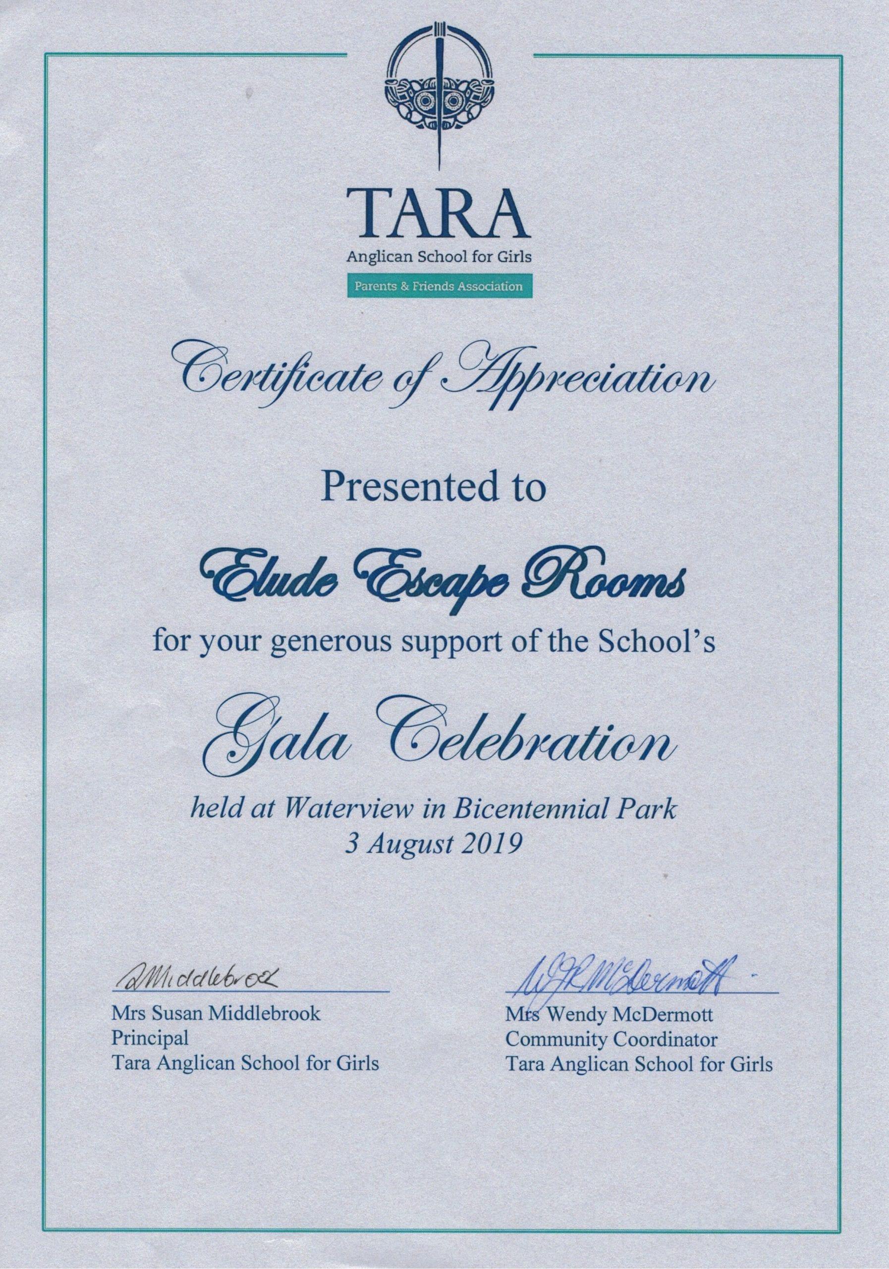 Certificate of Appreciation from Tara Anglican School